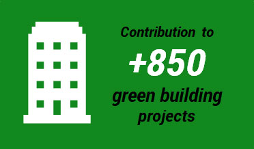 Contribution to +850 green building projects